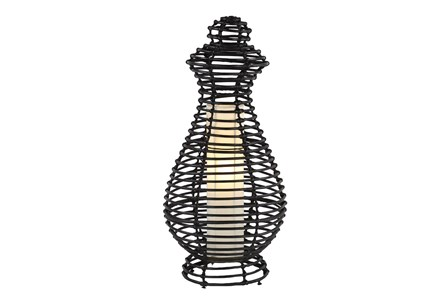 Table Lamp-Black Wicker