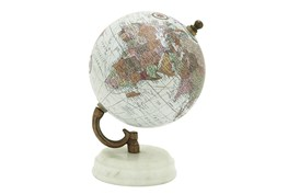White Marble Metal Globe