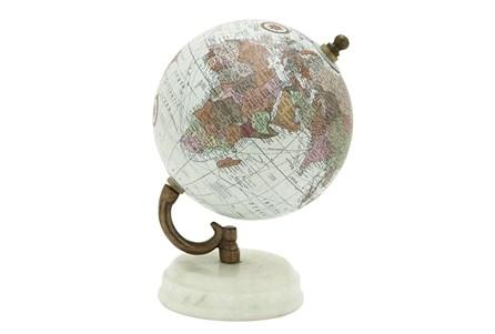 White Marble Metal Globe - Main