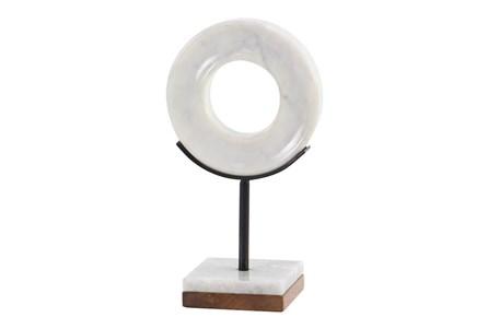 11 Inch Black + White Round Marble Sculpture