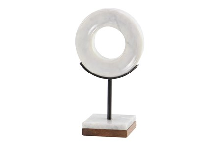 11 Inch Black + White Round Marble Sculpture - Main
