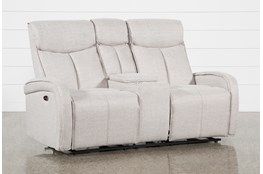 Sasha Light Grey Power Reclining Console Loveseat With Usb