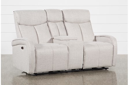 Sasha Light Grey Power Reclining Console Loveseat With Usb - Main