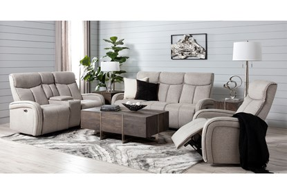 Sasha Light Grey Power Recliner With Usb Living Spaces