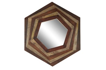 Wall Mirror-Dark Brown 3D Wood