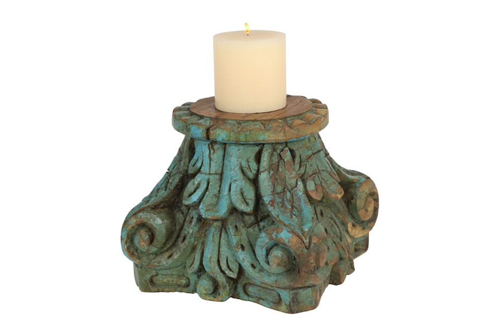 Distressed Turq Canlde Holder