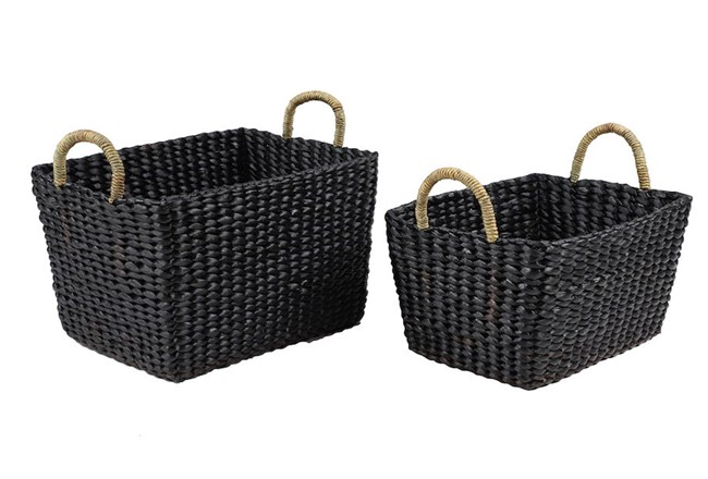 Square Black Wicker Baskets Set Of 2 - 360