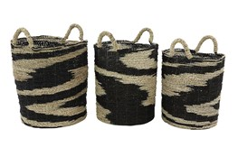Round Black + Tan Wicker Baskets Set Of 3