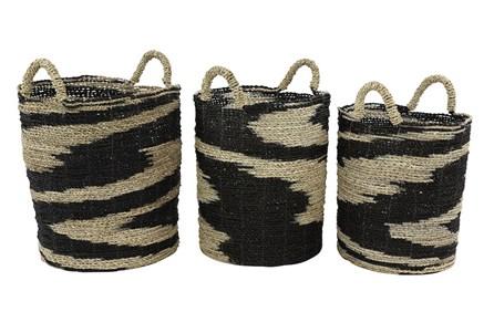 Round Black + Tan Wicker Baskets Set Of 3