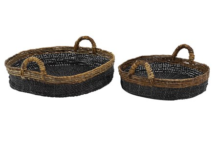 Short Round Raffia Black Baskets Set Of 2
