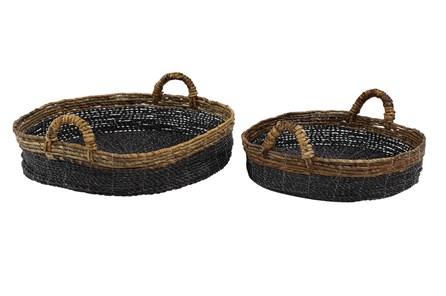 Short Round Raffia Black Baskets Set Of 2