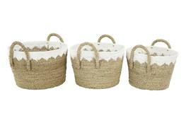 Round White + Tan Wicker Basket Set Of 3