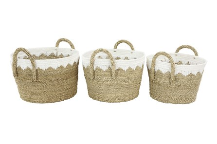 Round White + Tan Wicker Basket Set Of 3