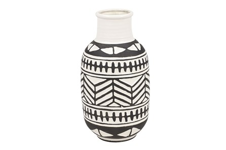 8 Inch Black + White Tribal Vase - Main