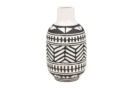 7 Inch Black + White Tribal Vase