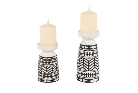 Black + White Tribal Candle Holders Set Of 2
