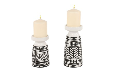 Black + White Tribal Candle Holders Set Of 2 - Main