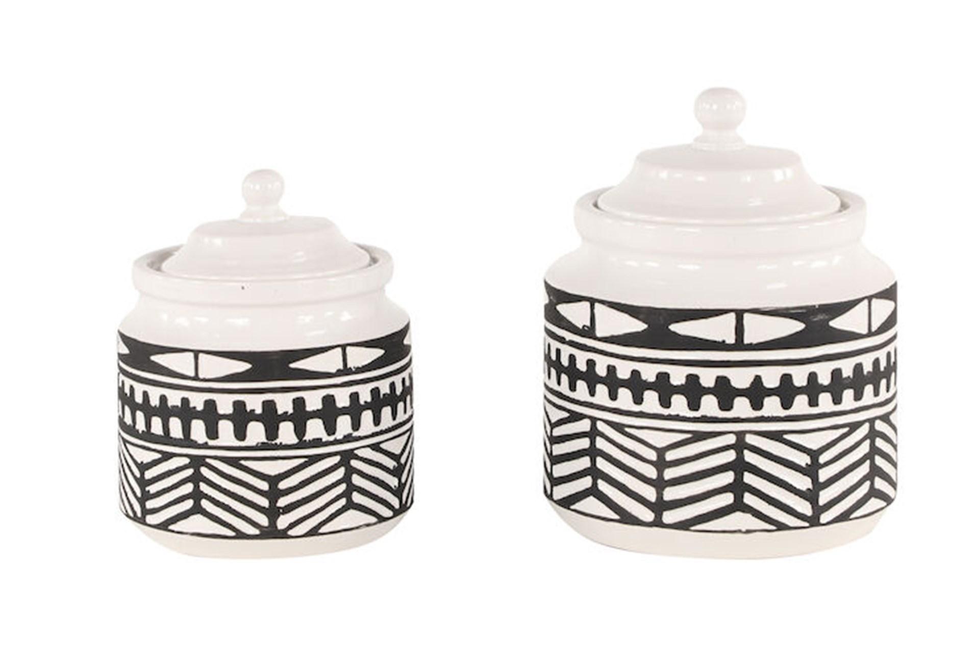 Black White Tribal Jars Set Of 2