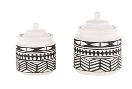 Black + White Tribal Jars Set Of 2