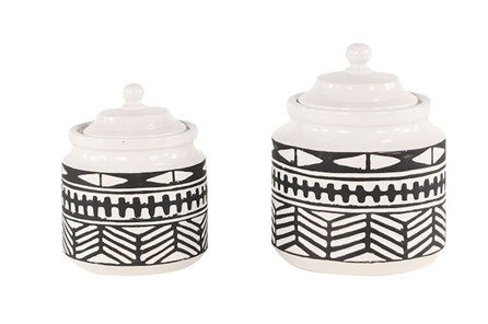 Black + White Tribal Jars Set Of 2 - Main