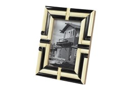 Black + White Bone Inlay Picture Frame