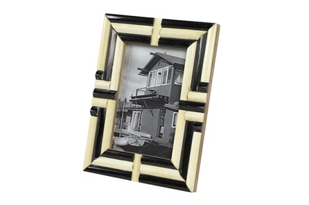 Black + White Bone Inlay Picture Frame