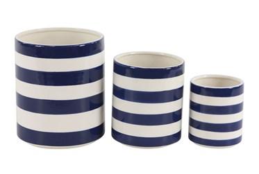 White + Blue Striped Planter Set Of 3