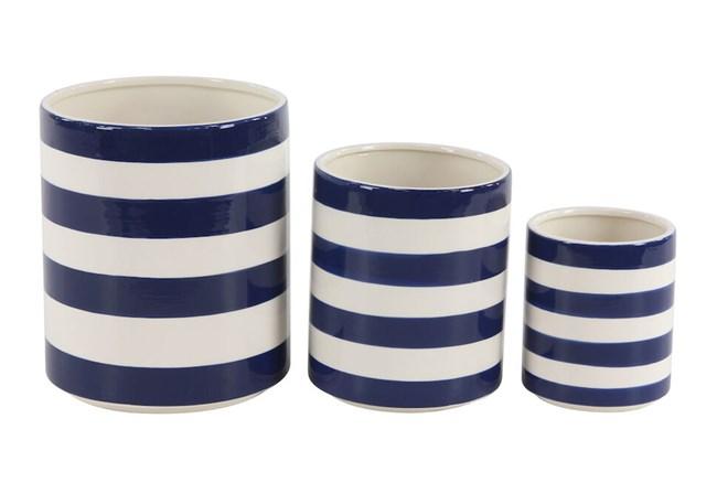 White + Blue Striped Planter Set Of 3  - 360