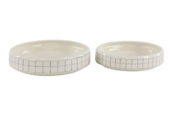 White + Gray Checkered Round Planter Set Of 2