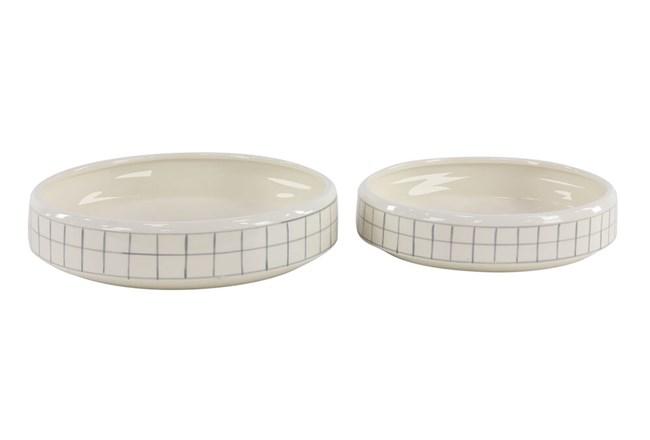 White + Gray Checkered Round Planter Set Of 2  - 360