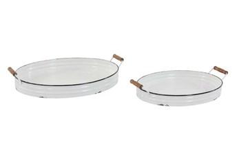 White Enamel Metal Tray Set Of 2