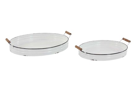 White Enamel Metal Tray Set Of 2