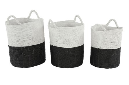Black + White Wicker Basket Set Of 2