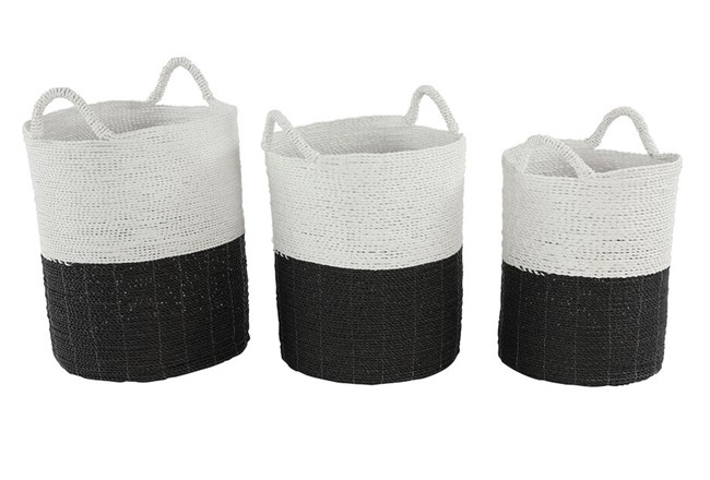 Black + White Wicker Basket Set Of 2 - 360