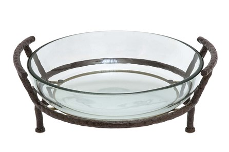 Glass Bowl Metal Stand
