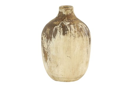 13 Inch Distressed Beige Terracota Vase