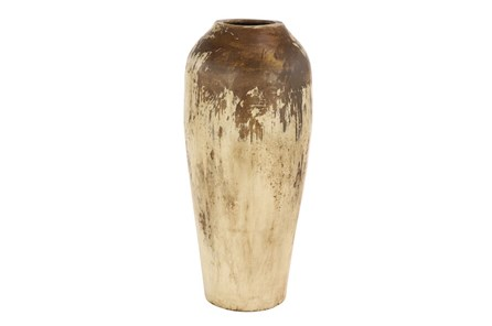 25 Inch Distressed Beige Terracota Vase - Main