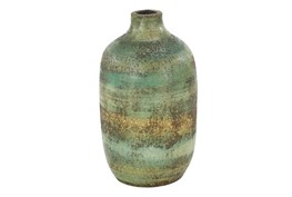 12 Inch Distressed Blue Terracota Vase