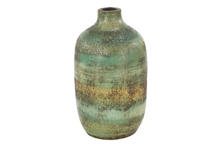 12 Inch Distressed Blue Terracota Vase