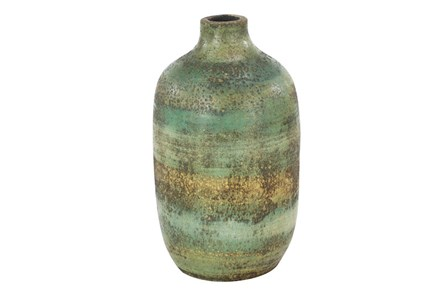 12 Inch Distressed Blue Terracota Vase - Main