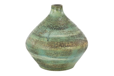 11 Inch Distressed Blue Terracota Vase - Main
