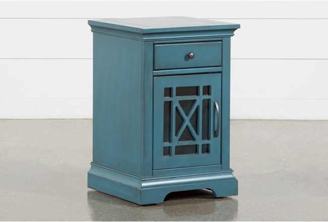 Belle Blue Chairside Table - 360