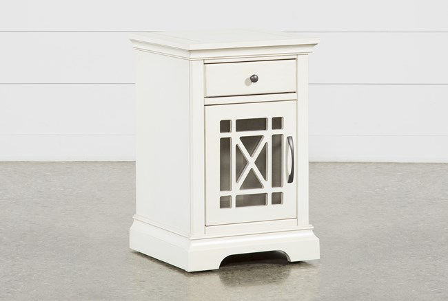 Belle White Chairside Table - 360