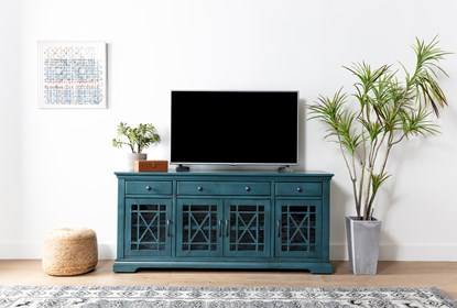 Belle Blue 70 Inch Tv Stand With Glass Doors Living Spaces