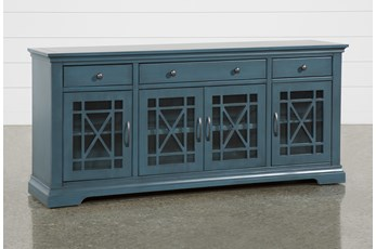 Belle Blue 70 Inch TV Stand with Glass Doors