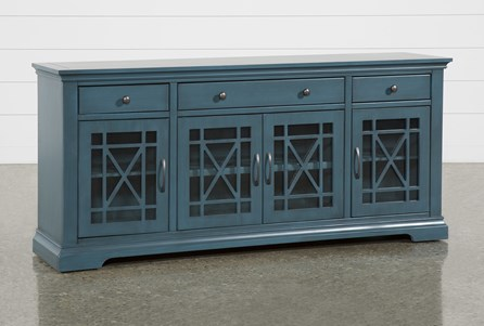 Belle Blue 70 Inch TV Stand with Glass Doors - Main