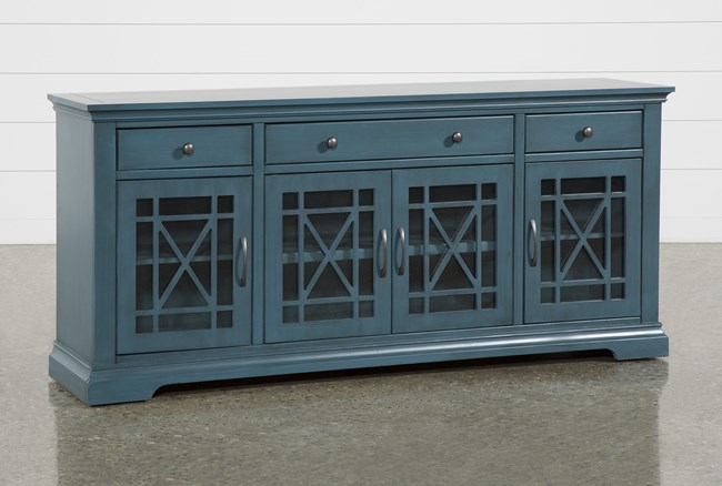 Belle Blue 70 Inch TV Stand with Glass Doors - 360