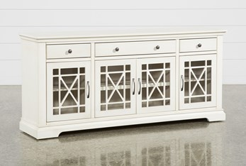 Belle Antique White 70 Inch TV Stand With Glass Doors