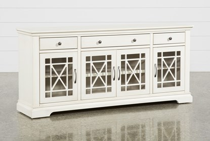 52 Inch Wood Console Table Buffet Tv Stand Antique White
