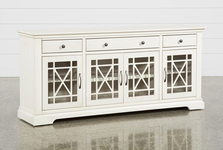 Belle Antique White 70 Inch TV Stand With Glass Doors - Main
